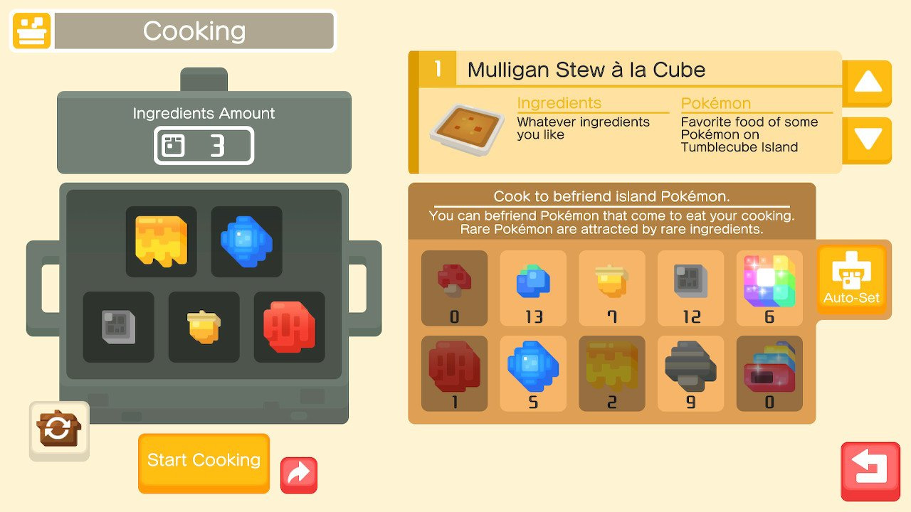 pokemon quest grass type recipe
