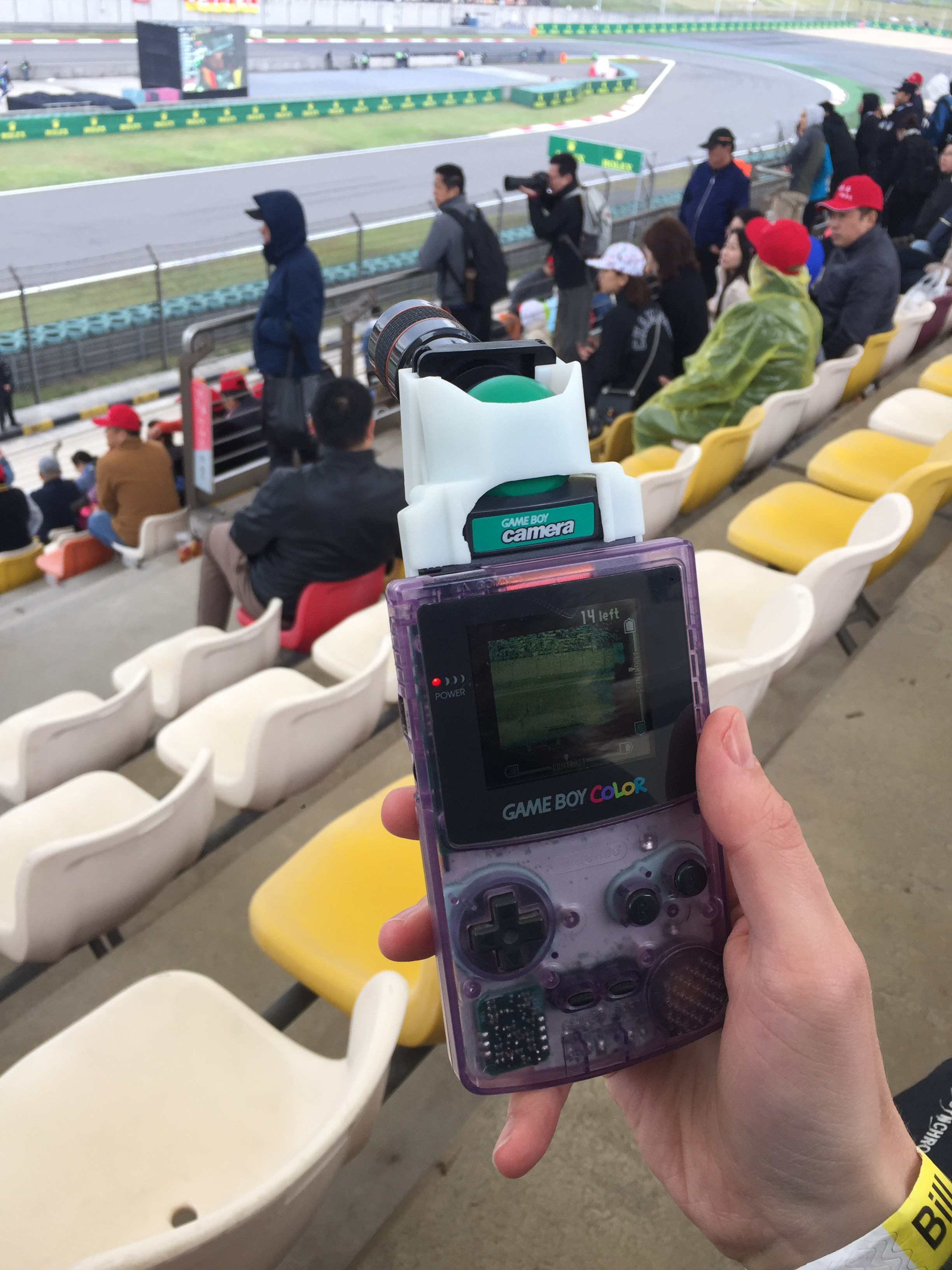 The Game Boy, camera and lens combo in action