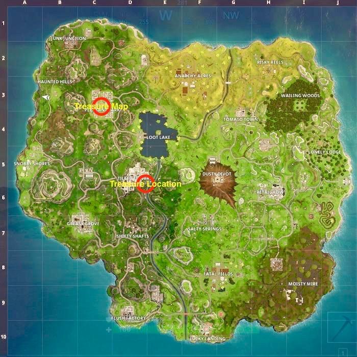 Fortnite Pleasant Park Treasure Map Location Guide